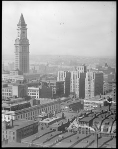 Bird's eye view of downtown including Custom House Tower