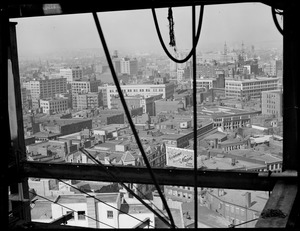 Bird's eye view toward Hotel Statler from top of new U.S.M. Building