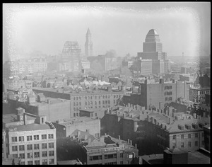 Bird's eye view Boston toward Custom House, United Shoe Machinery Building from Stuart St., Harrison Ave.