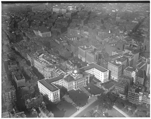 Airship view of State House and Beacon Hill