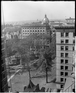 State House dome from new Parker House showing old burying grounds in the foreground