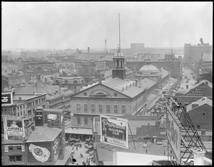 Bird's eye view of Faneuil Hall and Quincy Market