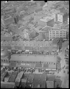Boston, bird's eye view of Market District from Custom House, Quincy Market looking north, North End