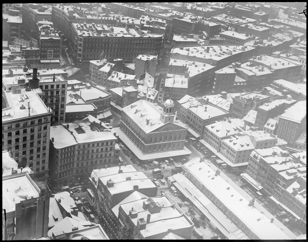 Bird's eye view of Faneuil Hall from Custom House Tower