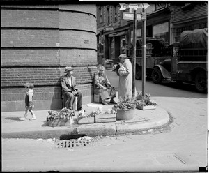 Couple selling vegetables at corner of Prince St. & Salem St. in the North End