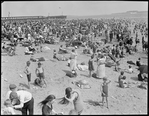 Crowded beach at City Point, South Boston