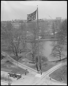 Bird's eye view Public Garden, new flag pole with Old Glory in the breeze