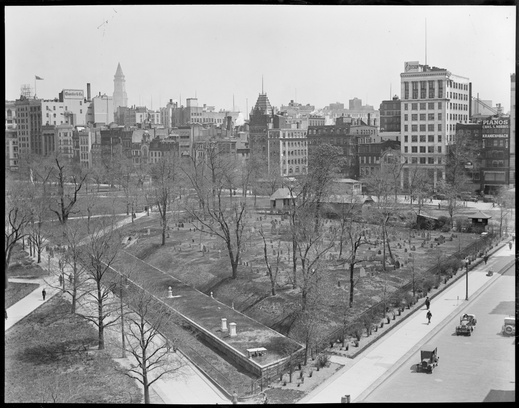 Boston Common burial ground from Boylston St. rooftop