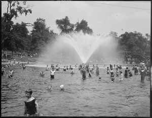 Bathing in the frog pond on Boston Common