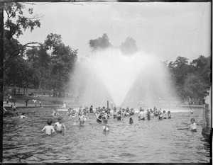 Swimmers in frog pond, Boston Common