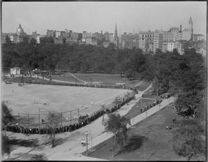 Baseball game on field on Boston Common