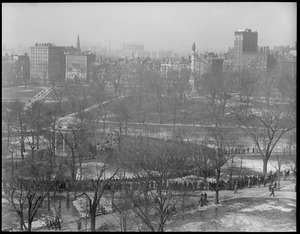 Bird's eye view of Boston Common and Parkman bandstand from Herald building