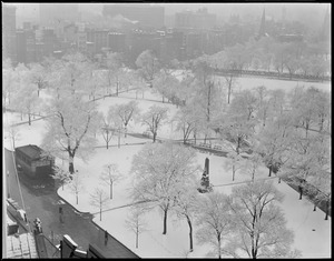 Boston Common after first snow fall, from Park St.