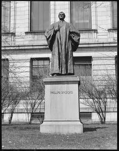 Statue of Phillips Brooks in front of M.F.A.
