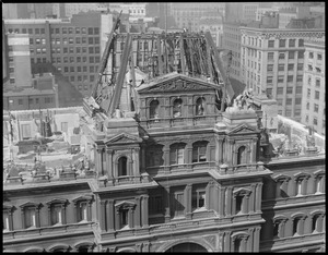 Roof of the old post office being torn down