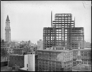 Post office under construction from the Parker House