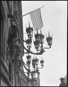 Boston Public Library lanterns and Old Glory