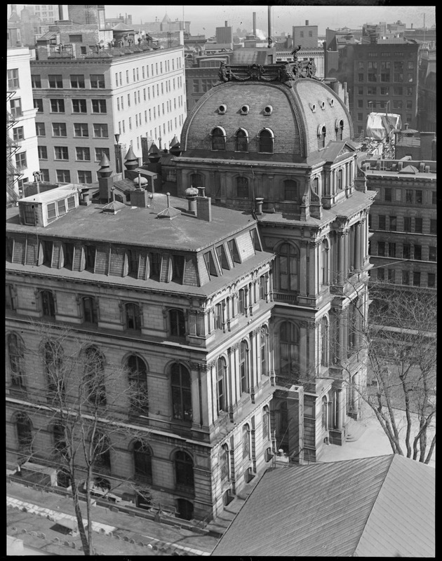 Looking down upon City Hall from Houghton and Drittons building on Tremont, Beacon Streets