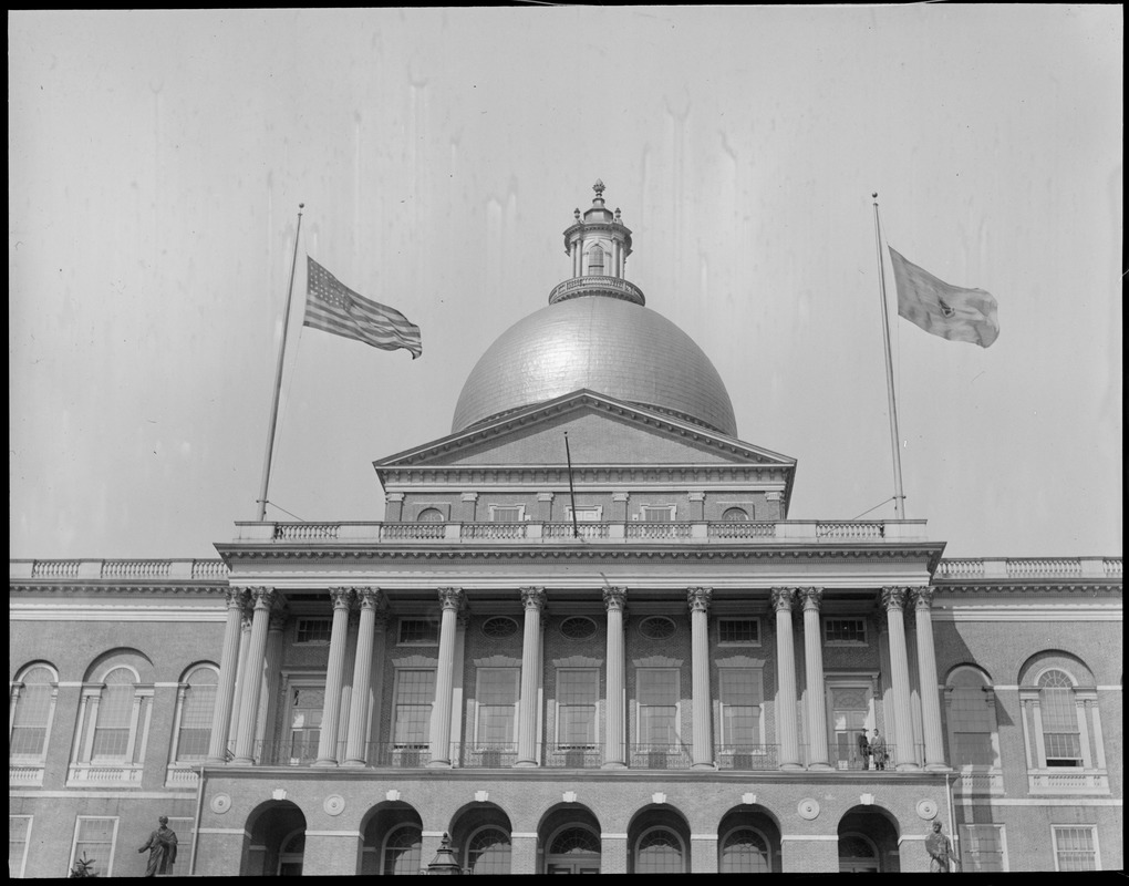 Mass State House - Flags half mast for Marshall Foch of France who died a great hero