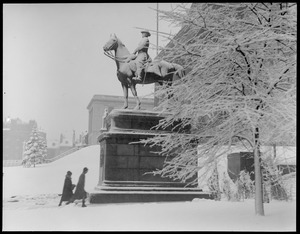State House - Gen. Joe Hookers statue covered with snow