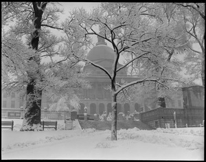 State House after a snowstorm