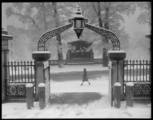State House gateway after a snowstorm