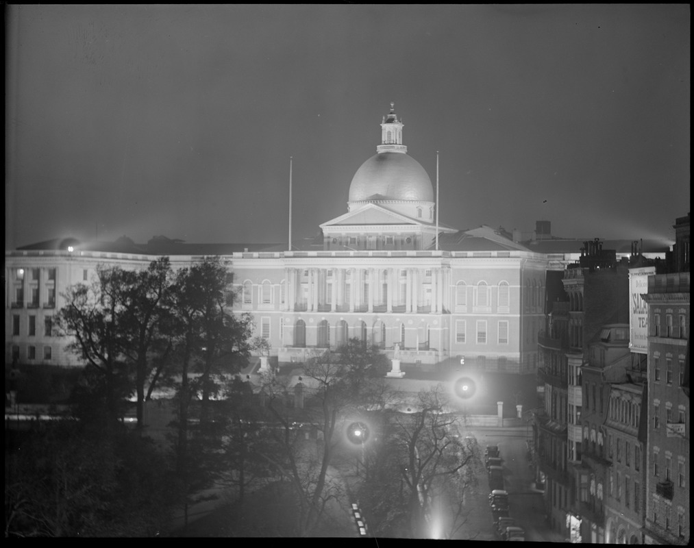 Mass. State House lighted up at night
