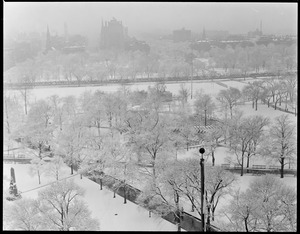 Bird's eye view of Common after first snowfall