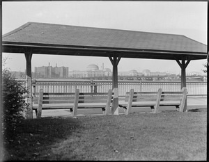 Benches with shelter, Charles River