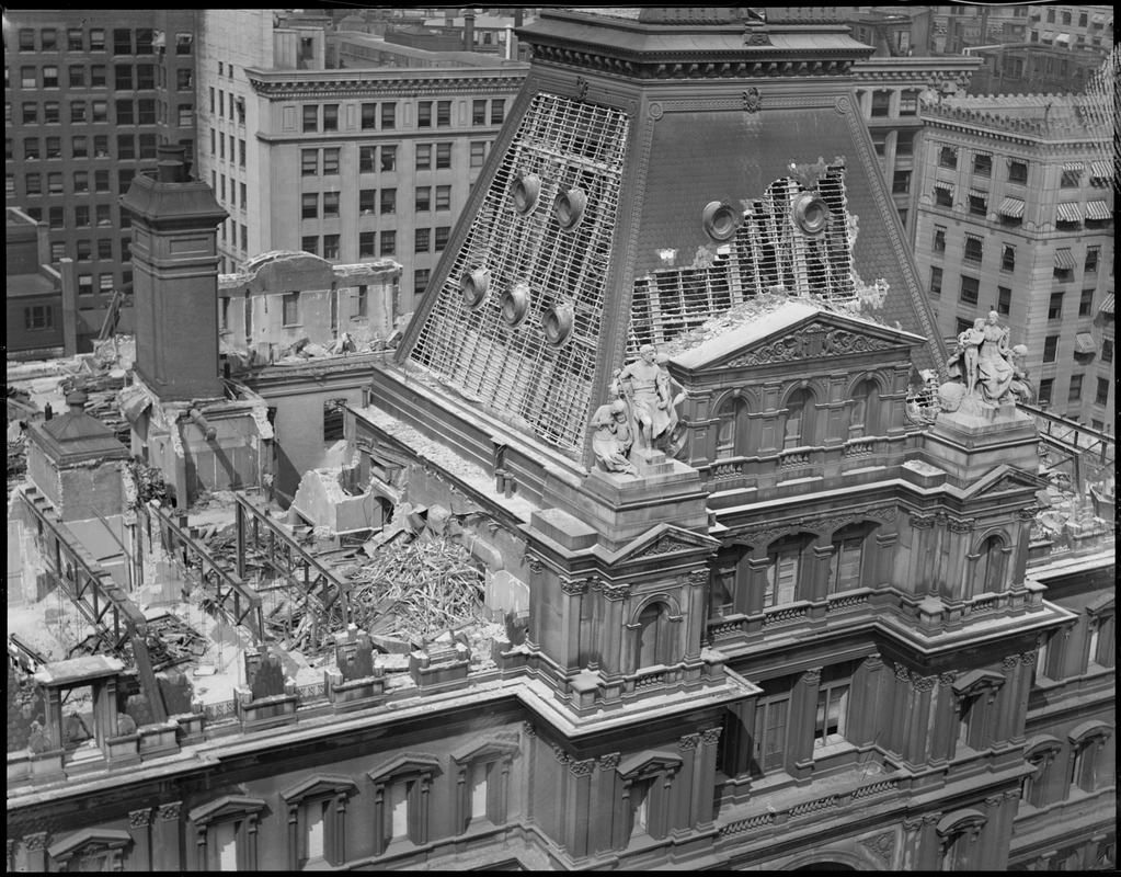 Demolition of roof of old post office