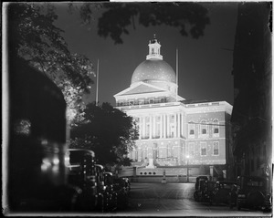 State House, Beacon Hill, at night