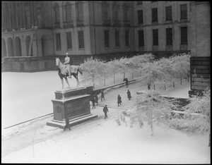 State House, Gen. Joseph Hooker's statue snow-covered