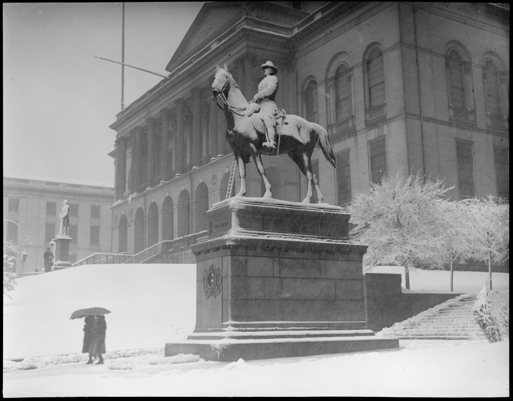 State House, Gen. Joe Hooker's statue covered with snow