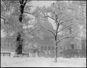 State House during a blinding snowstorm