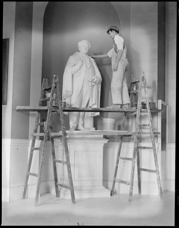 State House statue - John A. Andrew statue being cleaned up in State House by Robert J. Guthrie. Andrew was Gov. of Mass. way back in 1870.