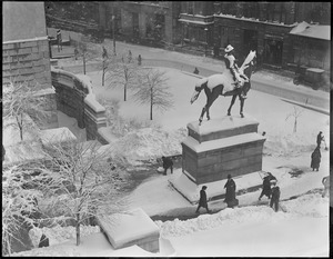 State House grounds and Hooker statue after blinding snowstorm