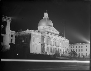 State House lighted up at night