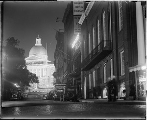 State House, Beacon Hill, lighted up at night