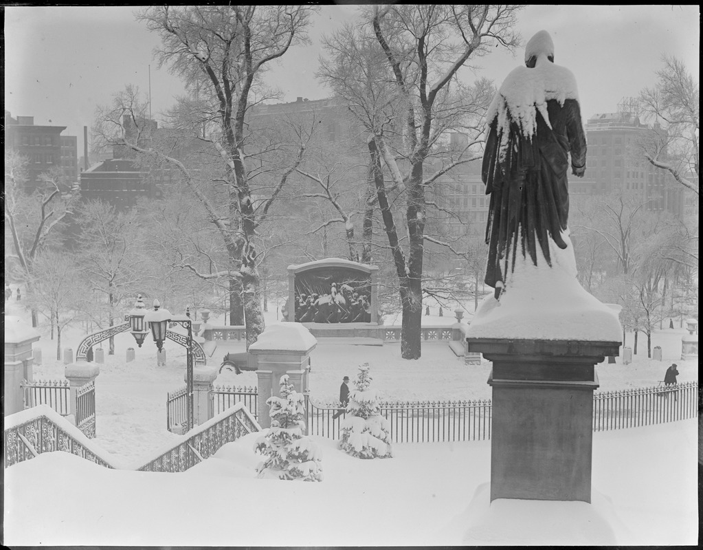 Snow-covered statues - State House