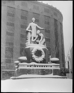 Abe Lincoln statue in Park Square: covered with snow