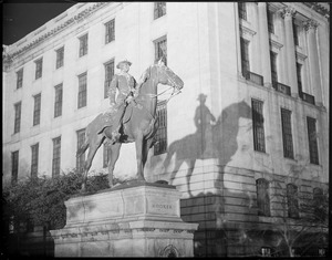 General Hooker statue at night in front of State House, Boston
