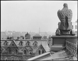 Eagle on roof of Natural History Building keeps a watchful eye on Boston