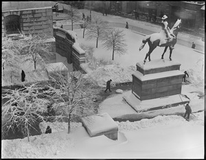 Hooker's statue after blinding snowstorm