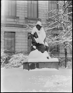 Hawthorne statue, M.F.A., covered in snow