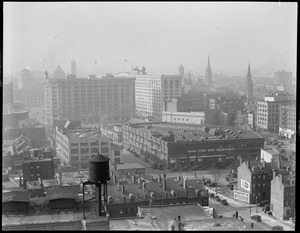 Bird's eye view of Park Square, including Motor Mart and Paine Furniture