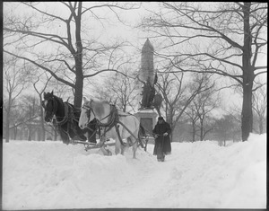 Storm Tremont St. Mall, man & horses, snow removal (Boston Common)