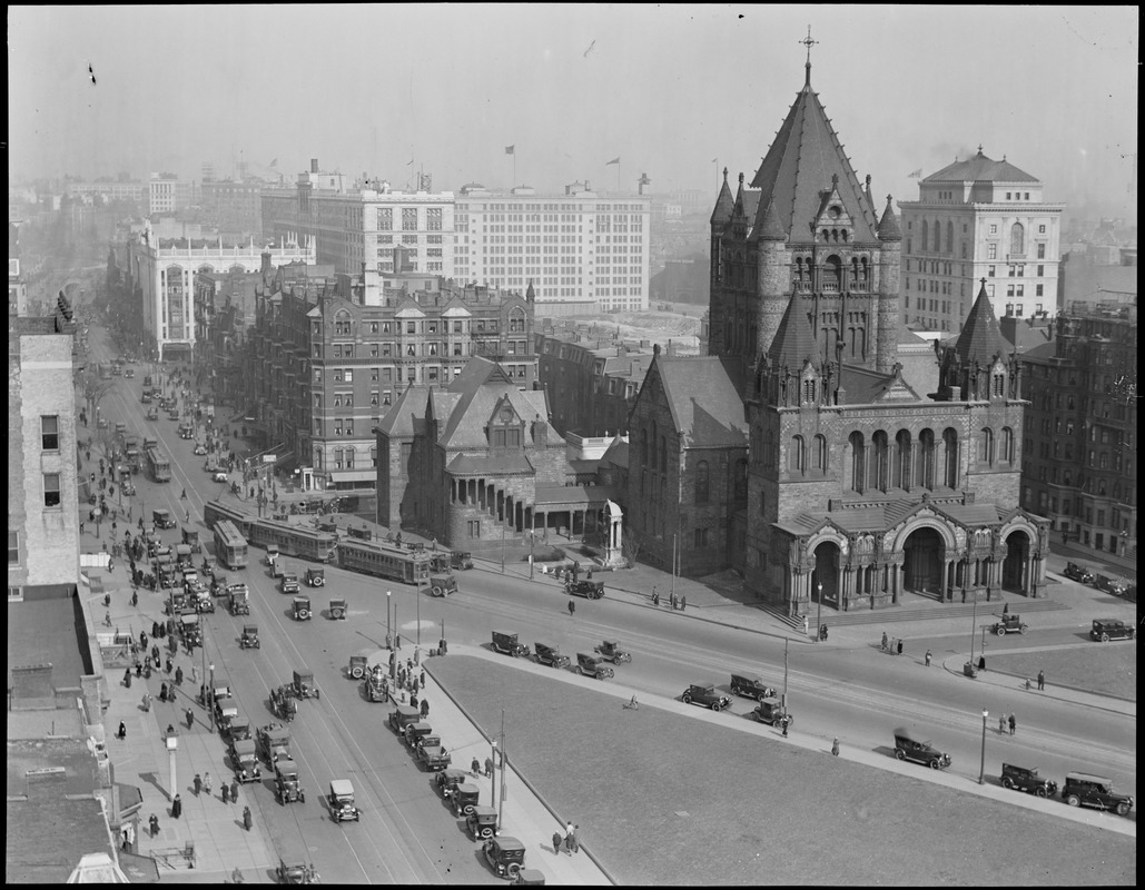 View from new Old South Belfry down Boylston, Copley Square