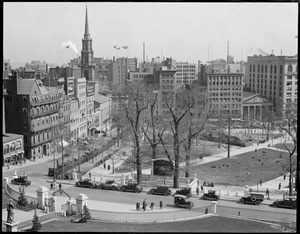 Bird's eye view down Park Street from State House roof