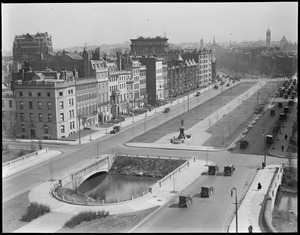 Bird's eye view from Hotel Braemore looking down Commonwealth Avenue toward the Back Bay