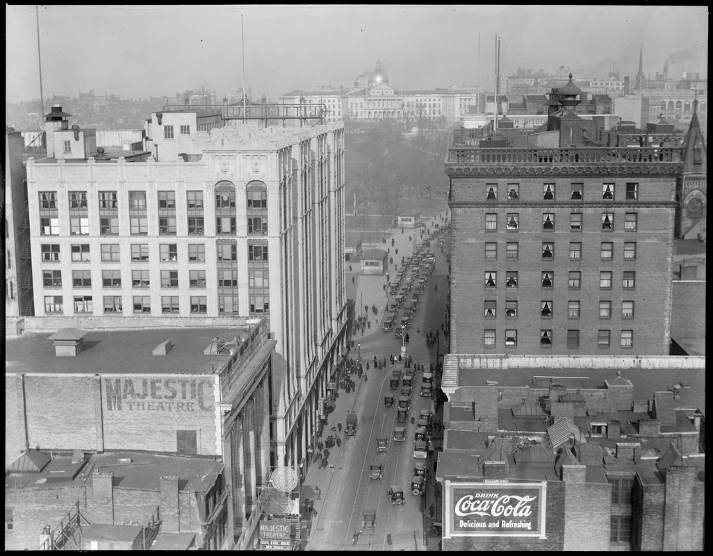 View up Tremont St. from Theatre District showing Little Building and Hotel Touraine